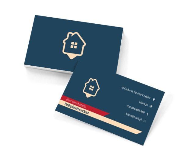 Biały dom na niebieskim tle, Nieruchomość, Biuro nieruchomości - Wizytówki Netprint szablony online