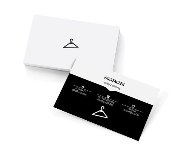 Czarny wieszak na ubrania, Sprzedaż, Odzież - Wizytówki Netprint szablony online