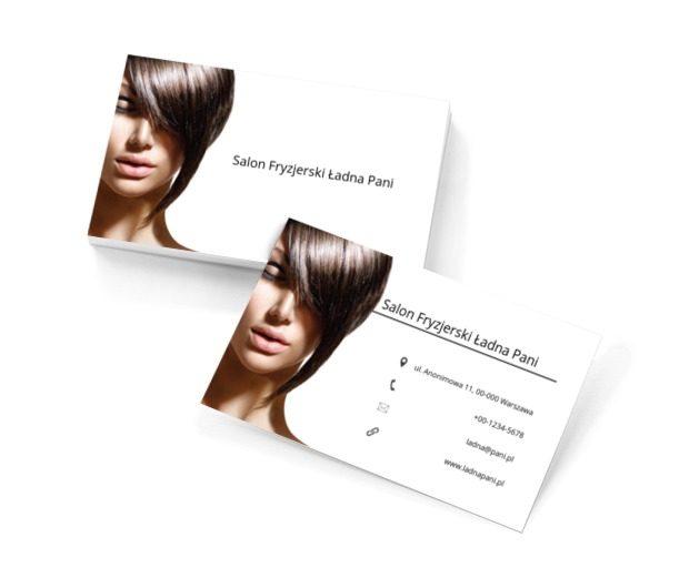 Twarz brunetki, Zdrowie i uroda, Salon fryzjerski - Wizytówki Netprint szablony online