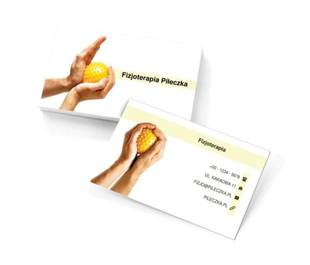 Żółta piłeczka do masażu, Medycyna, Fizjoterapia - Wizytówki Netprint szablony online