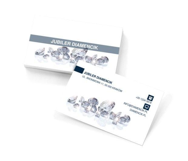 Diamenty na białym tle, Sprzedaż, Jubiler - Wizytówki Netprint szablony online