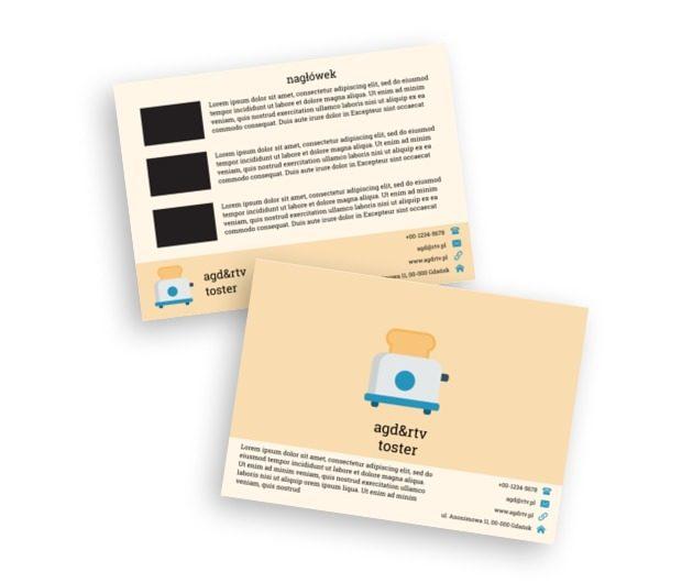 Niebiesko-biały toster na żółtym tle, Sprzedaż, RTV i AGD - Ulotki Netprint szablony online