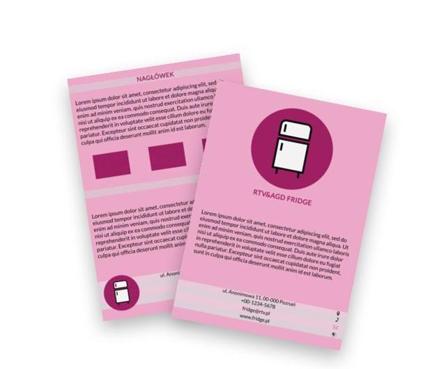Biała lodówka na różowym tle, Sprzedaż, RTV i AGD - Ulotki Netprint szablony online