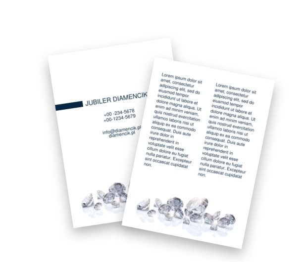 Diamenty skąpane w bieli, Sprzedaż, Jubiler - Ulotki Netprint szablony online
