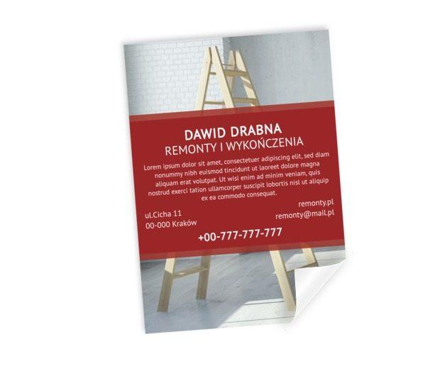 Plakat informuje, drabina sugeruje, Budownictwo, Remont i Wykończenia - Plakaty Netprint szablony online