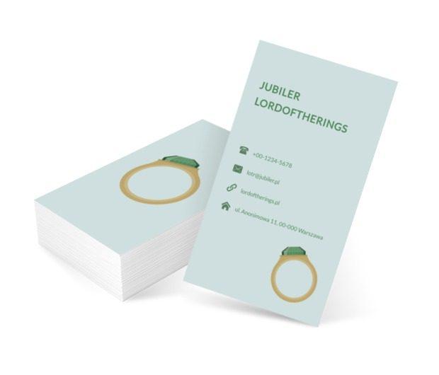 Pierścionek z zielonym kamieniem, Sprzedaż, Jubiler - Wizytówki Netprint szablony online